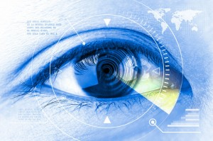 47435275 - close up women eye scanning technology in the futuristic.